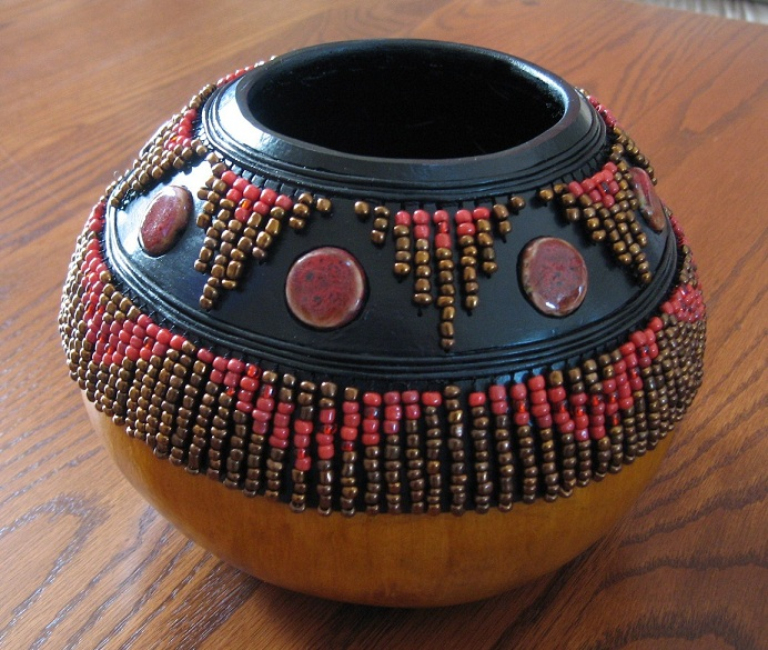Beaded bowl artful creations by patti jo for Decorative items for home with waste material